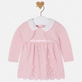 Mayoral 2823-53 Šaty pro dívky vyšívané s svetrem barva růží