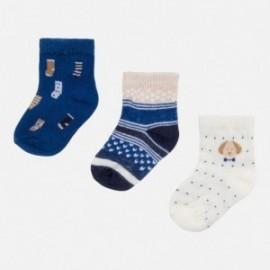 Mayoral 9599-42 Sada 3 párů ponožek barva kobaltu