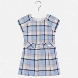 Mayoral 4921-85 Dívčí šaty mřížka Modrá barva