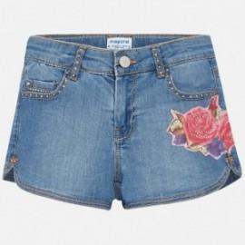 Mayoral 6202-84 Dívčí šortky džíny s výšivkou barva modrý