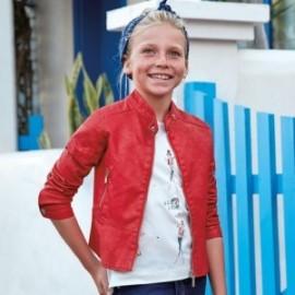 Mayoral 6416-10 Dívčí bunda umělá kůže Červená barva