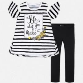 Mayoral 6708-36 Dívčí set pruhované tričko a legíny barva černá