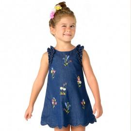 Mayoral 3984-5 Dívčí šaty džíny barva granát