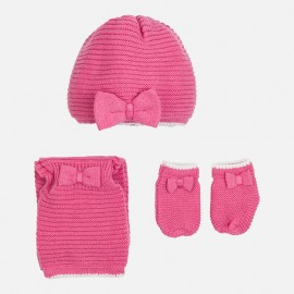 Mayoral 9605-37 Čepice šála a rukavice barva růžová