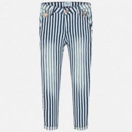 Mayoral 6512-3 Dívčí kalhoty dlouho pásy džíny barva granát