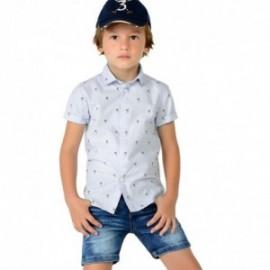 Mayoral 3148-65 košile chlapci krátký rukáv palmy barva modrý