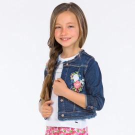 Mayoral 3416-82 Dívčí bunda džíny s výšivkou barva granát