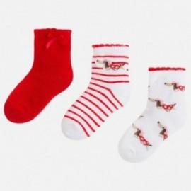 Mayoral 10400-92 ponožky dívčí barva bílá/červená