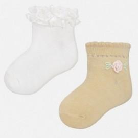 Mayoral 10347-29 Ponožky pro dívky bílé/žluté