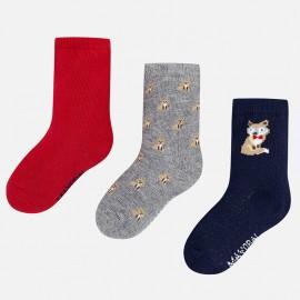 Mayoral 10440-20 Sada ponožkových chlapců, barva červená/šedá/granát