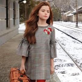 Mayoral 7936-55 Dívčí šaty v koberečku barva šedá/červená