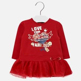 Mayoral 2948-48 Šaty pro dívky červená barva