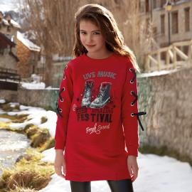 Mayoral 7958-93 Dívčí šaty červené barvy