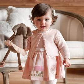 Mayoral 2928-72 Dívčí šaty s výšivkami růžové