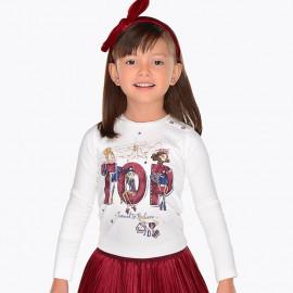 Mayoral 4058-72 Tričko pro dívky krémová barva