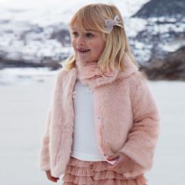 Mayoral 4494-91 Dívčí kabát s límečkem růžové barvy
