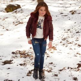 Mayoral 7538-17 kalhoty dívčí barva tmavý granát