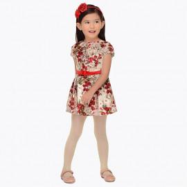 Mayoral 4948-70 Dívčí šaty v květinách červená barva