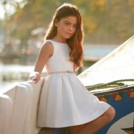 Mayoral 6922-51 Dívčí šaty krémová barva