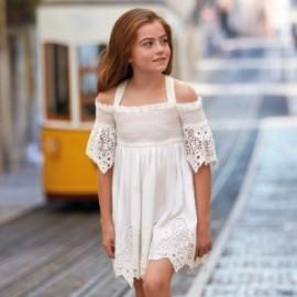 Mayoral 6935-80 Dívčí šaty krémová barva