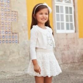 Mayoral 3958-71 Dívčí souprava s krajkovým krémem