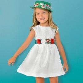 Mayoral 3919-24 bílé žakárské šaty s opaskem