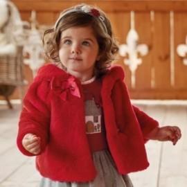 Mayoral 2478-88 Dívčí kabát s kožešinou červená