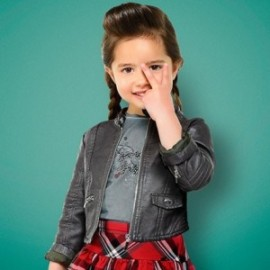 Mayoral 4490-72 Kožená bunda holčičí černá