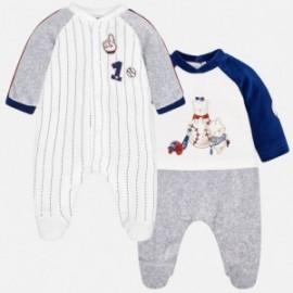 Mayoral 2746-89 Sada 2 velurových pyžam chlapci šedá / granát