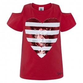 Dívčí halenka s flitry červená Tuc Tuc 49775-3