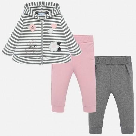 Track-suit mikina a dvě dvojice kalhot pro dívku Mayoral 2839-50