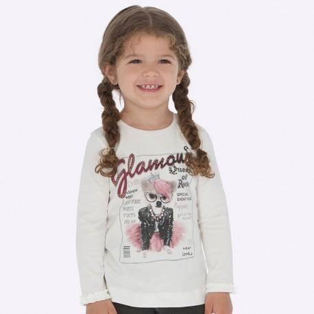 Tričko s dlouhým rukávem s volánkem pro dívku Mayoral 4009-44