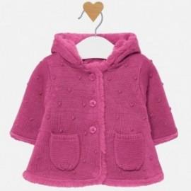 Kabát svetr s kapucí pro dívku Mayoral 2304-60 Malina