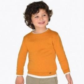 Svetr bavlna hladký na krku pro chlapce Mayoral 323-67 karamel