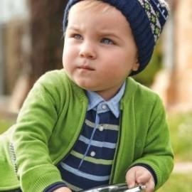 Tričko polo s dlouhými rukávy v proužcích Chlapci Mayoral 2108-57 Granat