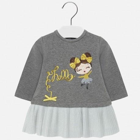 Pletené šaty s tepelnou výšivkou pro dívku Mayoral 2930-45 Steel