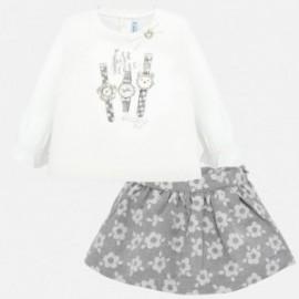 Nastavit halenku a žakárové sukně s květinami pro dívku Mayoral 2935-28 Silver