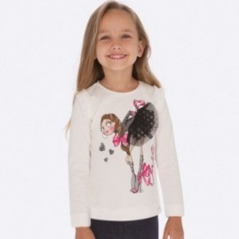 Košile s dlouhým rukávem pro dívky Mayoral 4007-71 Cream-fuchsia