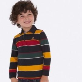 Tričko polokošile s dlouhými rukávy v pásech chlapec Mayoral 4114-10 Titanium