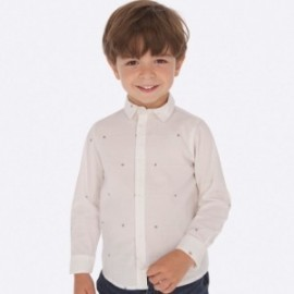 Žakárové tričko s dlouhým rukávem Mayoral 4119-18 bílá