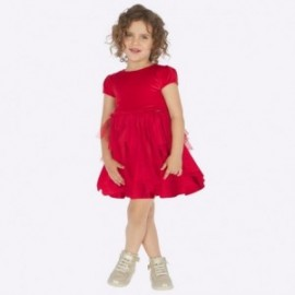 Šaty kombinované s tylem pro dívku Mayoral 4924-85 červená