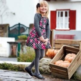 Žakárové šaty s potiskem pro dívku Mayoral 4928-50 Fuksja