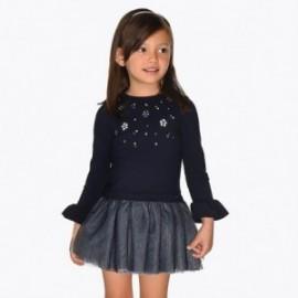 Šaty v kombinaci s tylem pro dívku Mayoral 4934-23 granát