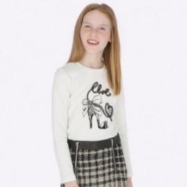 Tričko bavlna s dlouhým rukávem pro dívky Mayoral 7004-72 Smetanový