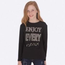 Tričko s dlouhými rukávy bavlna pro dívku Mayoral 7017-55 černá