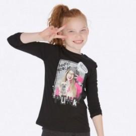 Košile s dlouhým rukávem s potiskem pro dívku Mayoral 7019-87 černá