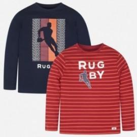 2 košile s dlouhými rukávy hladké a pruhované pro chlapce Mayoral 7025-94 Námořnický