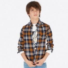 Košile s dlouhými rukávy kostkovaný chlapec Mayoral 7119-87 Hnědý