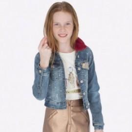 Bunda džíny s kožešinovým límcem pro dívku Mayoral 7411-93 Bystrý