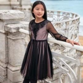 Šaty bavlněné s tylovou dívkou Mayoral 7924-54 Černá